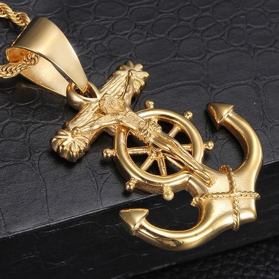 MEN's Stainless Steel Gold Silver Black Anchor JESUS Cross