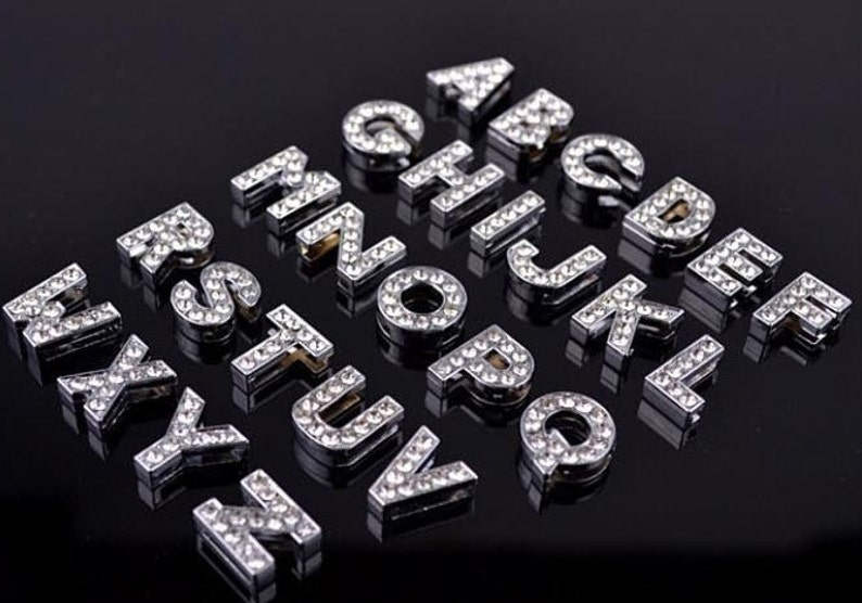 26pcs Rhinestone Letters Slide Charm Silver Bling Crystal Etsy