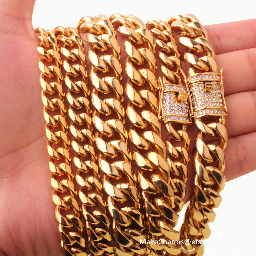 Hip hop 8 10 12mm 14mm Men Cuban Curb Miami Chain Necklace steel Rhinestone  Clasp Iced Out rose Gold Silver casting Chain Necklaces bracelet 98410ff82741