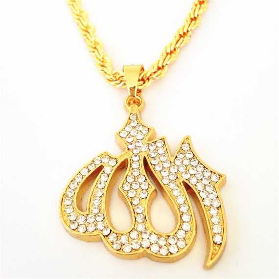 Mens gold iced out muslim allah pendant necklace hiphop cuban etsy image 0 aloadofball Images