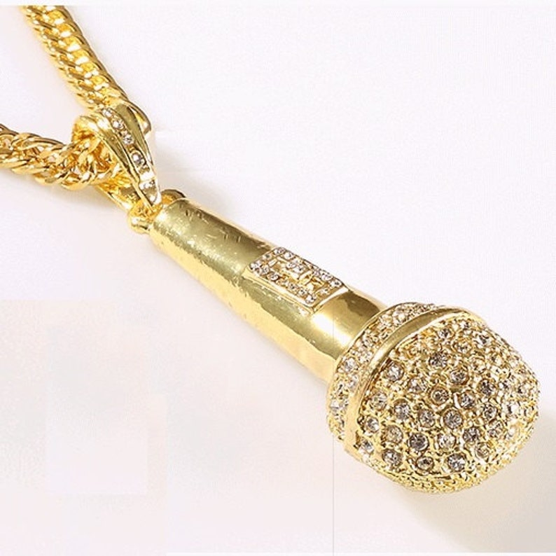 Large Hip Hop Dance Rapper Microphone Pendant Chain Necklace  3bb1bf2ae