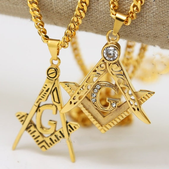 Mens Stainless Steel Masonic Illuminati Symbol 24k Gold Plated Etsy
