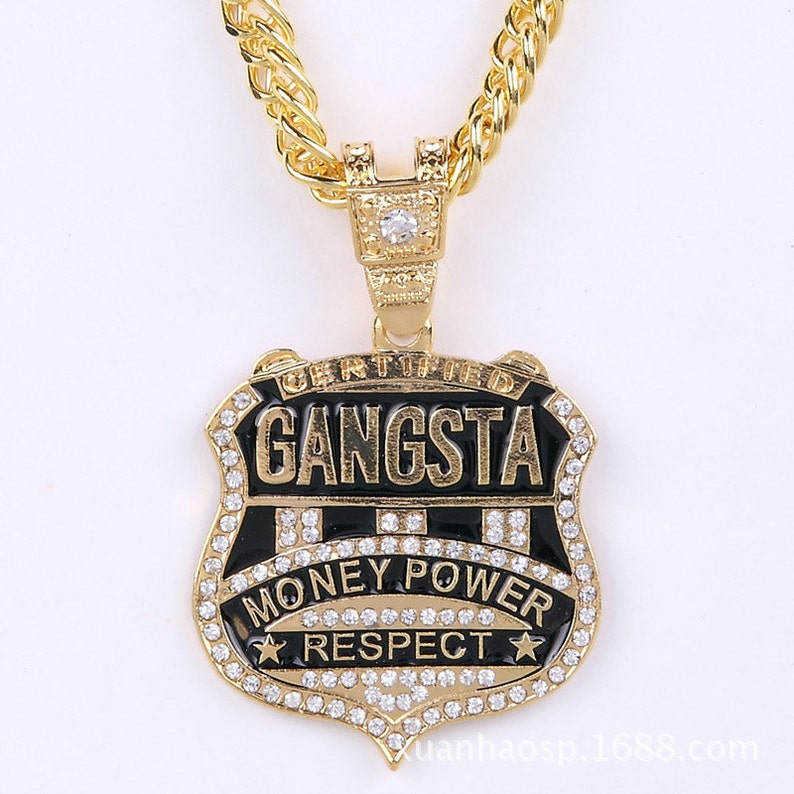 6671010df7dcb Men Vintage Hip Hop 24k Gold/Silver Jewelry Necklaces for Women Certified  Gangsta Money Power Respect Pendant Necklace