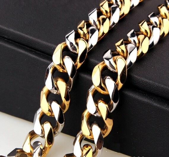 15mm Herren Kette zwei Ton Silber Gold Figaro Kandare   Etsy 7ef15e0e1c