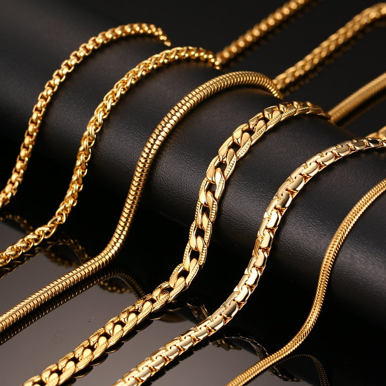 Silver   Gold Chain Necklace For Men Women Stainless Steel  6f739510c9