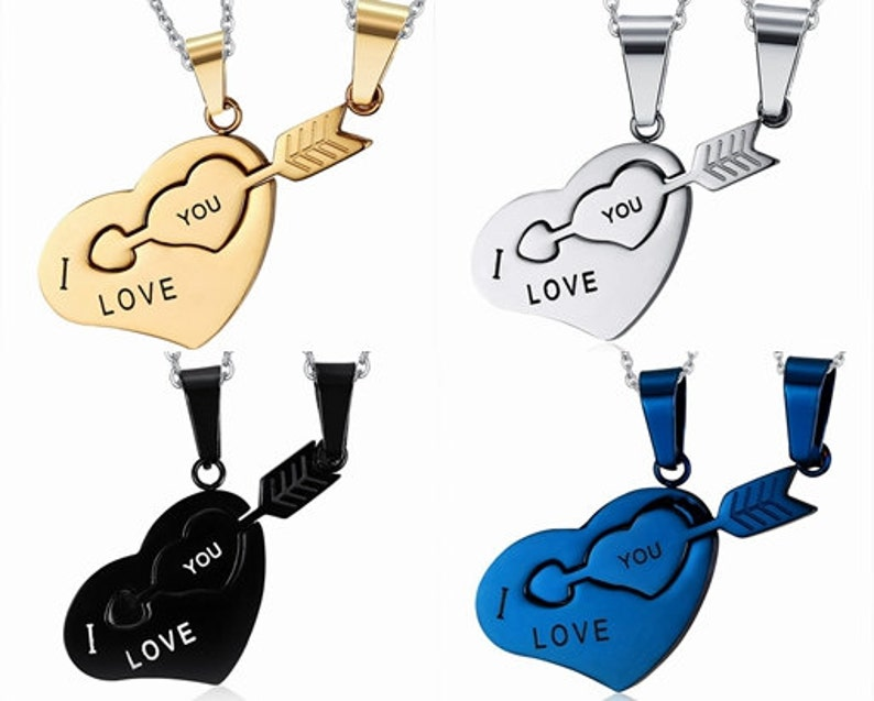 ddcaccf1d3 His & Hers Necklace Stainless Steel I Love You Key Heart Pendant Couples  Necklace set boyfriend girlfriend necklace ...