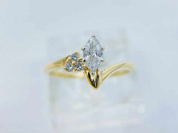 14K Gold Marquise Diamond Engagement Ring - Dainty