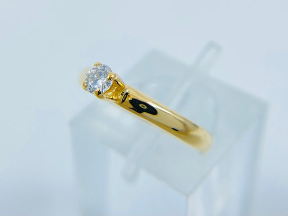 18K Gold Solitaire Diamond Engagement Ring - Daint