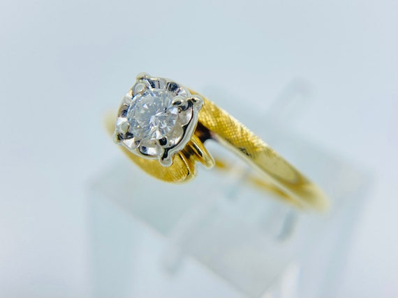 14K Gold Solitaire Diamond Engagement Ring - Daint