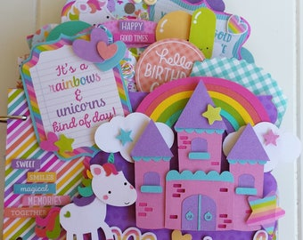 Unicorns and Rainbows Birthday Mini Album Kit