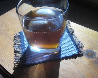 mug rug set, lavendar handwoven rag rug coaster set
