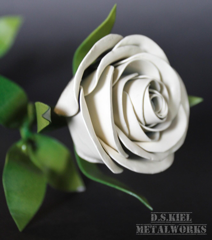 Metal Long Stem White Rose Graduation Easter Metal Rose Wedding