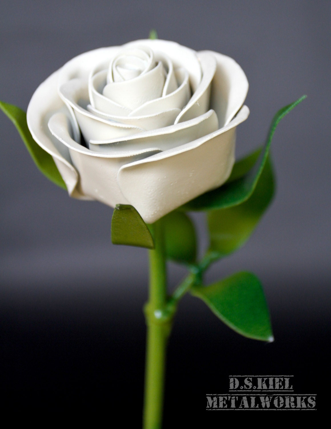 Metal Long Stem White Rose Graduation Easter Metal Rose Wedding
