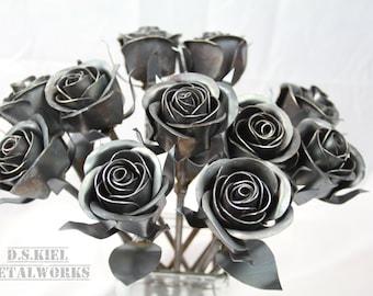11th Anniversary Gift, 11 Steel Roses, Metal Rose Bouquet, Steel Anniversary, Eleventh Anniversary Gift