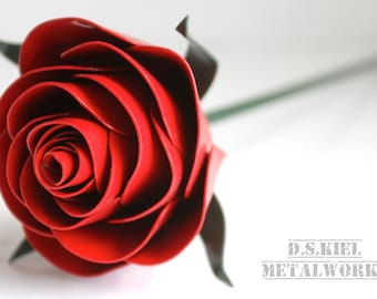 Stylized Metal Rose,  11th Anniversary, 6th Anniversary, 4th Anniversary, Metal Flower, Steel Rose, Steel, Forever Rose
