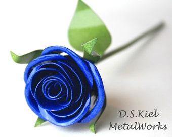 Metal Rose, Something Blue, Wedding Bouquet, Wedding Flower, Wedding Flower, Bridesmaid Gift, Bridesmaid Bouquet, Wedding Gift