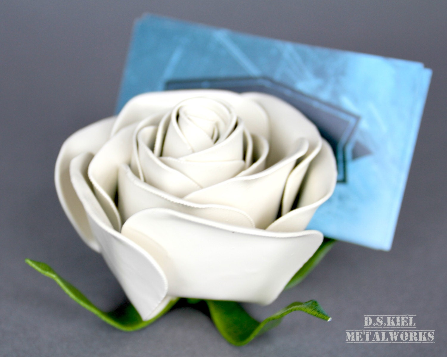 Business Card Holder Birthday Gift Housewarming Present Metal Rose Flower Steel Forever