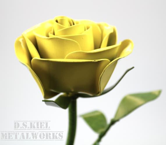 Metal rose metal flower metal long stem yellow rose metal etsy image 0 mightylinksfo