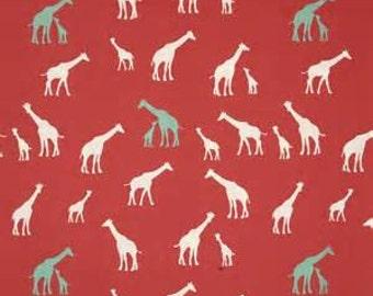 1b5bd28d8e5 Giraffe Coral Red knit by birch fabrics organic cotton knit giraffe print  fabric by the yard, baby apparel fabric, knit stretch fabric
