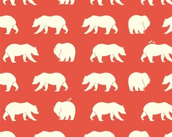 Birch Fabrics Bear Hike in coral knit 100% organic cotton bear print fabric from Bear Camp knit line