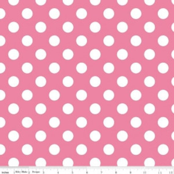 Notting Hill Dots C10203 Pink Quilting Cotton Fabric Dotted Dot 12 White Polka Dots on Pink Riley Blake Designs