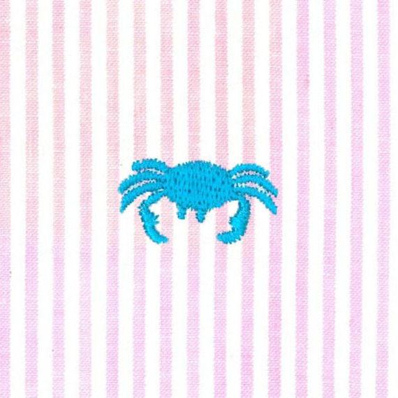 Fabric Finders Aqua Embroidered Crab On Pink Stripe Seersucker Etsy