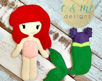 2x starfish 2x seahorses 2x rays 4x shell 15x digital embroidery design MERMAID doll removable fins 7x12 ITH in the hoop