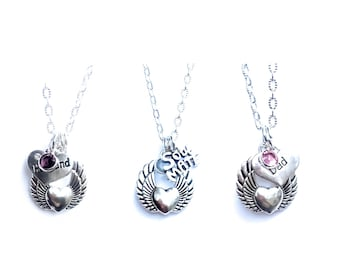 Large Guardian Angel Wrapped Heart Angel Wing Memorial Grief Necklace
