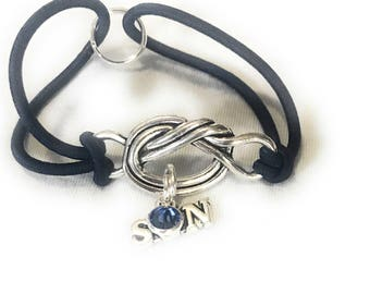 In memory of Son Birthstone Forget Me Knot Memorial Bracelet