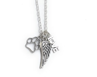 Pet Memorial Pet Loss Angel Wing Love Charm Necklace