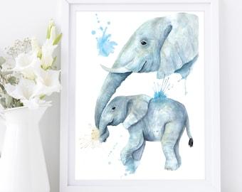 Watercolour Elephant Mom & Baby