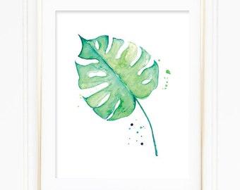 Watercolor Monstera Deliciosa Leaf