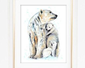 Polar Bear Mother and Cubs Watercolor Print