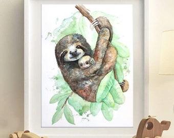 Sloth Snuggle Watercolor Print