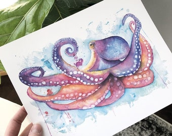 Splashy Octopus Watercolor