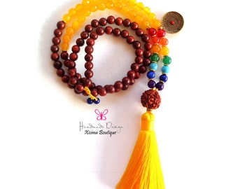 ON SALE!!! 108 Mala Beads/ Mala Necklace/Chakra Mala /ૐ Prayer Beads/ Yoga Jewelry/ ૐ Meditation/Tibet Buddhist Prayer Beads ૐ