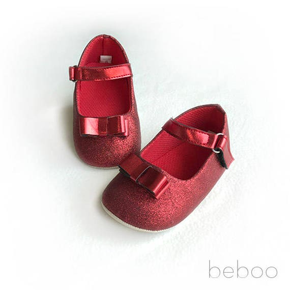 Pre Walker Scarlet Red Glitter Baby Girl Glitter Shoes Etsy