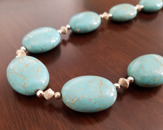 Chunky Oval Stone Necklace with Silver Beads