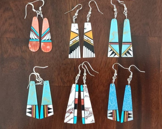 Inlay Block Dangle Earrings