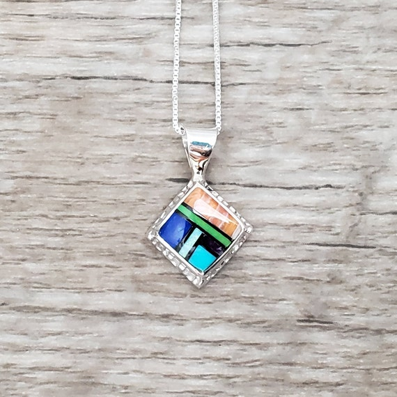 Multistone Square Pendant Necklace - Spiny Oyster, Lapis, Gaspeite, Turquoise, Sierra Black, Opal, Sugilite - 18 inches