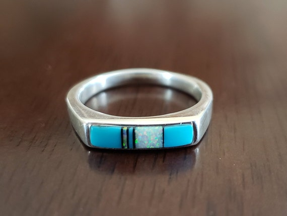 Turquoise and Opal Inlay Ring