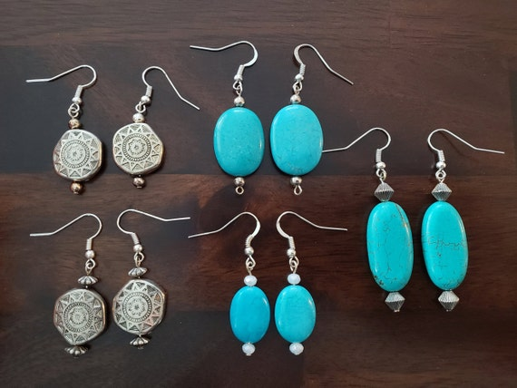 Turquoise Stone and Silver Sun Dangle Earrings