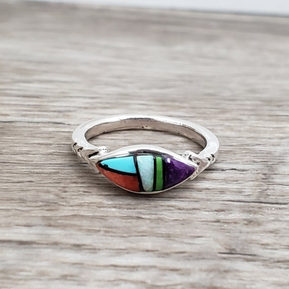 Multistone Ring Size 7 - Spiny Oyster, Gaspeite, Turquoise, Sierra Black, Opal, Sugilite