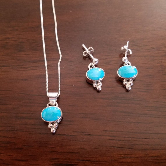 Sleeping Beauty Turquoise and Sterling Silver Oval Set