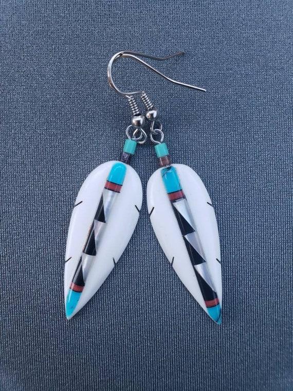 Patterned Feather Earrings
