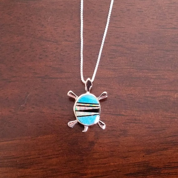 Sleeping Beauty Turquoise, Opal, and Sterling Silver Turtle necklace