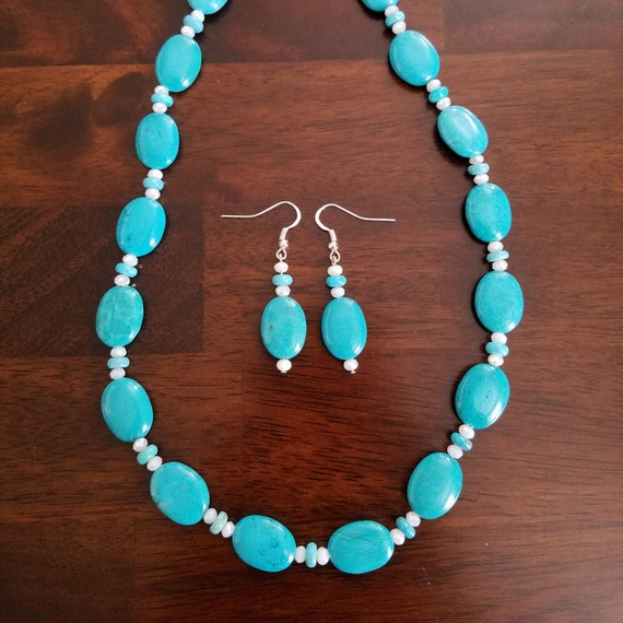 Navajo Oval Turquoise Necklace and Earring Set