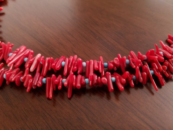 Navajo Double Strand Coral with Turquoise Seed Bead Necklace