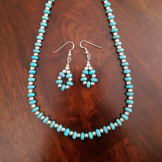 Navajo Turquoise Rondelle wtih Silver Beads Necklace and Earring Set