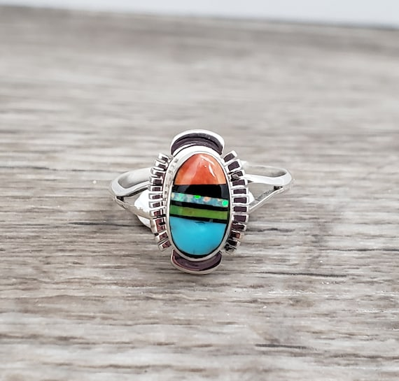 Multistone Ring Size 7 - Spiny Oyster, Gaspeite, Turquoise, Sierra Black, Opal